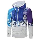 Herren Pullover Mens Herbst Casual 3D Printed Langarm Pullover Sweatshirt Hoodie Mantel Top