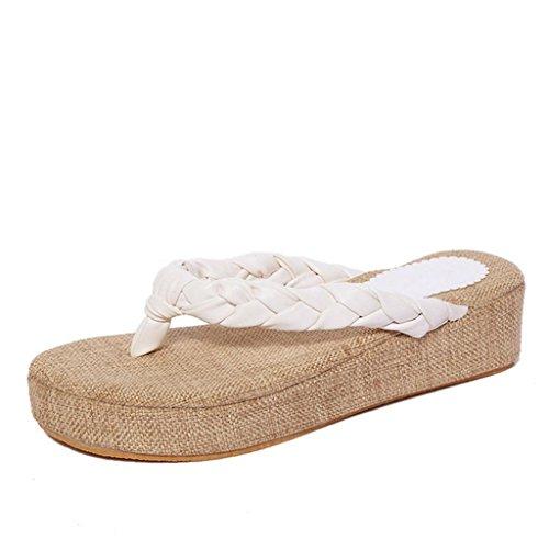 DM&Y 2017 sandali di paglia con pendenza capovolgere con le pantofole di viaggi aerei nazionali scivolano trascinare erba spiaggia di moda White