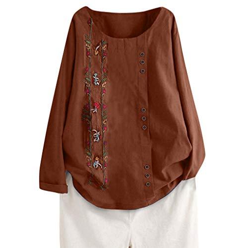 Junjie Damen Casual Lose Button Leinen Plus Size Sport Tunika Shirt Bluse Tops Elegant Kurzarm Sommer Spitze große größen blusenkleid -