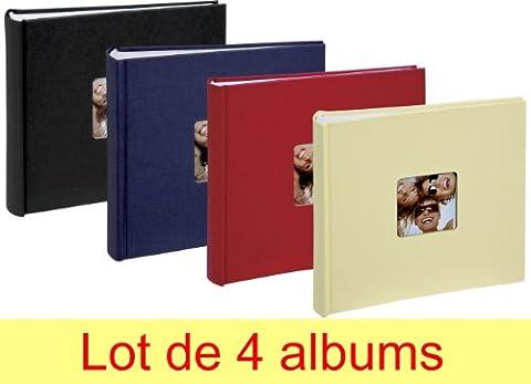 Lot de 4 albums photos Walther Fun à pochettes 10x15 pour 200 photos - Noir bleu rouge jaune