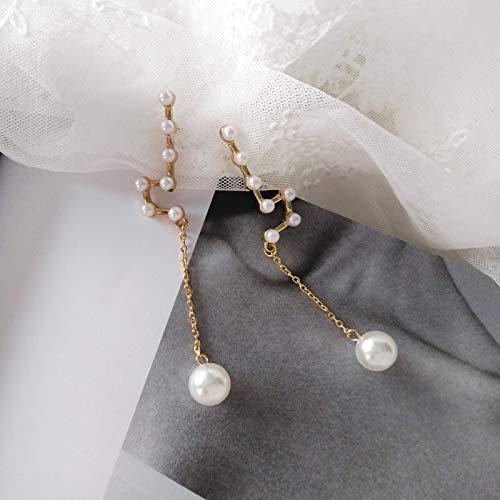 Chwewxi Japanische und koreanische Mode Konstellation Ohrringe Ohrringe einfache Wilde Lange Perle Anhänger Ohrringe Ohrclips, Ohrringe Paar