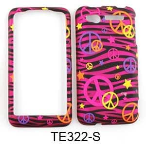 HTC Suave Transparent Design, Colorful Peace Signs on Pink Zebra Snap On Cover, Hard Plastic Case, Face cover, Protector