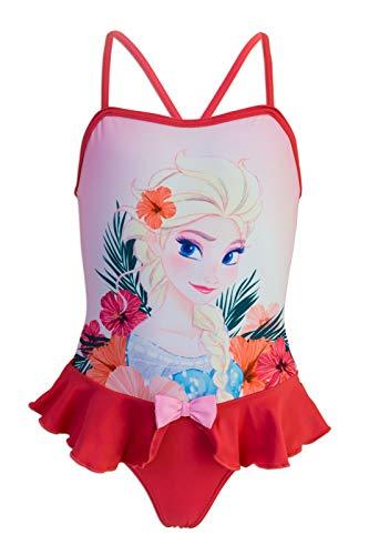 Disney Frozen - Costume Intero con Volant Mare Piscina - Full Print - Elsa e Anna - Bambina - novità Prodotto Originale con Licenza Ufficiale SE1XXX [Rosso Fiocco - 6 Anni - 116 cm]