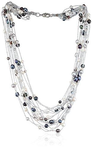 Sakura Pearl Damen-Strang-Halskette Edelstahl AM321