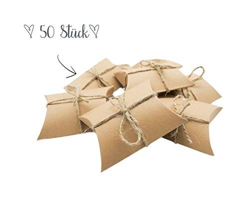 Geschenk-karte Schnelle (Geschenkboxen klein Kraftpapier | Geschenkschachteln natur im Vintage Style für Schmuck, Mitgebsel, Süßigkeiten (50))