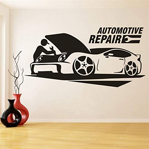 Yyoutop Autowerkstatt Logo Wandaufkleber Garage Raumdekoration Autowerkstatt Vinyl Wandtattoo Mechaniker Repair Man Vinyl Poster 1 57x28 cm -