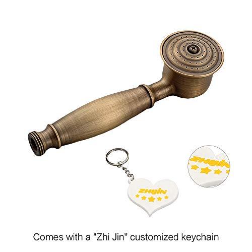 Zhi Jin 1Pc Cabezal de ducha de mano vintage, solo piezas de repuesto, desmontable, cabezal de ducha para baño Gunmetal