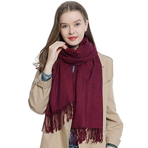 Dondon sciarpa invernale da donna 185 x 65 cm grande e morbido tinta unita - bacca