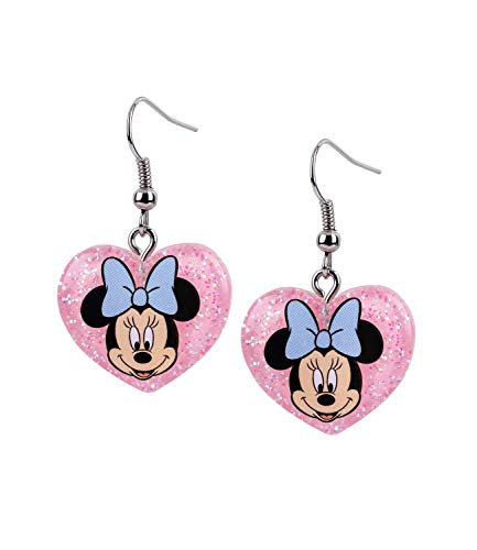 SIX Kinder Ohrringe, Ohrhänger, Minnie Mouse, Disney, Herz, Schleife, Glitzer, rosa, blau (783-041)