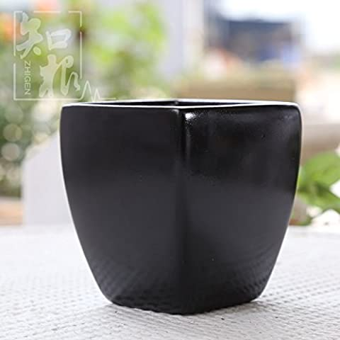 Maivace Ceramic Vase Decorative Ornaments Modern Simple Black And White Ceramic Square Mouth Home Flower Pot Hp-001