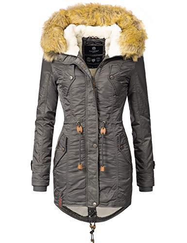 Navahoo Damen Winter Mantel Winterparka La Viva (vegan hergestellt) Anthrazit Gr. M