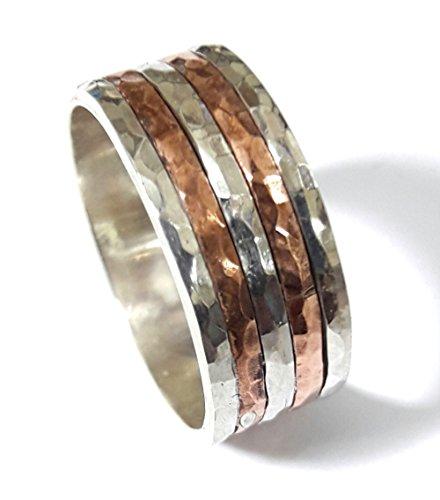 Anillo compromiso plata 5 anillos alternados plata-cobre