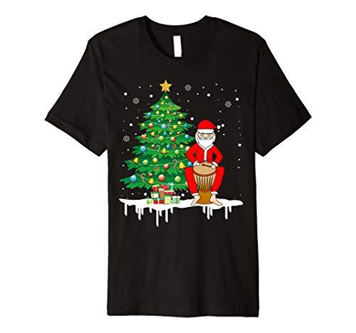 Weihnachtsmann, der Djembe lustiges T-Shirt -