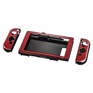 Hama Hardcover Hülle für Nintendo Switch, Metallic-Look, 3-teilig (Cover für Konsole und Joy Cons, ergonomisch für besseren Grip) Slim Bumper, Schutzhülle, Hard-Case metallic-rot