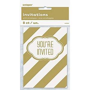 Unique Party Invitaciones para Fiesta, 8 Unidades Color dorado 49594