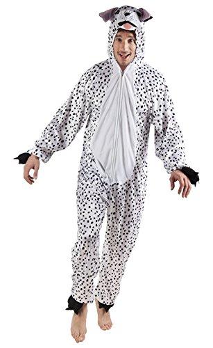 Karnevalsbud - Herren Motto-Party Karneval Kostüm Plüsch Dalmatiner, Onesie, Komplett-Jumpsuit Hund, One Size, Weiß