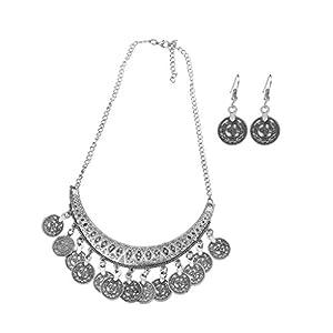 Amarzk Frauen Mädchen Jingle Tanzen Gypsy Schmuck Ethnische Münze Halskette Ohrringe 2 STÜCK Schmuck-Set Frauen-Silber