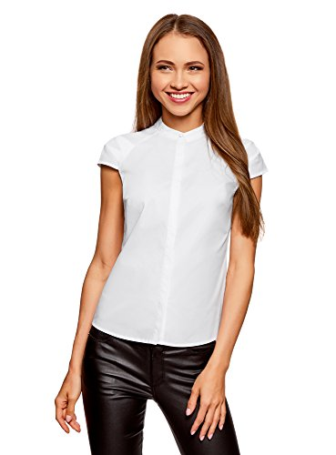 Oodji ultra donna camicia in cotone con maniche corte, bianco, it 40/eu 36/xs
