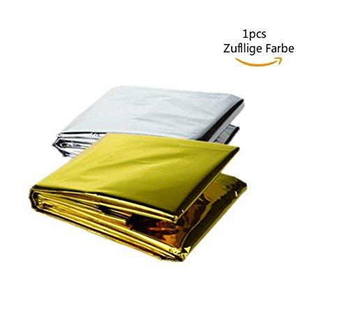 Dosige Rettungsdecke, Rettungsfolie, Notfalldecke, Erste- Hilfe- Decke, gold/ silber(Zufällige Farbe), 210 x 130cm, 1 Stück