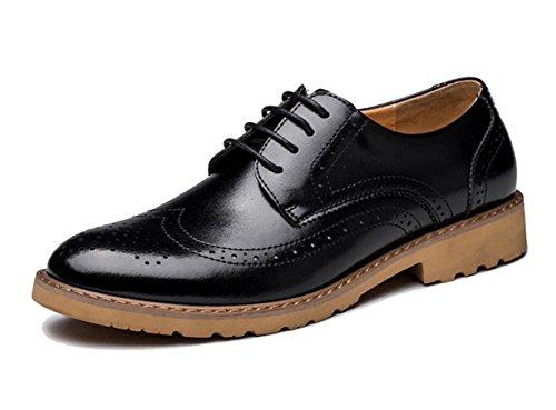 WZG Die neuen Herrenschuhe geschnitzt Bullock populär jungen britischen Stil Männer business casual Schuhe Lederschuhe Gezeitenschuhe schwarz 9.5 Black
