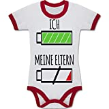 Strampler Motive - Ich und meine Eltern Batterie - 3-6 Monate - Weiß/Rot - BZ19 - Zweifarbiger Baby Strampler für Jungen und Mädchen