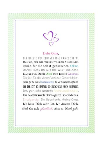Danke Oma - Danksagung für Oma Bild optional mit Rahmen – Geschenk Geschenkidee Geburtstag Oma Kunstdruck DIN A4