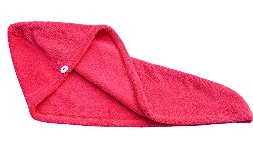Hope Shine Mikrofaser groß Haarpunzel Turban Haartrockentuch Handtuch Kopftuch Haartrockentuch Handtücher (Rot)