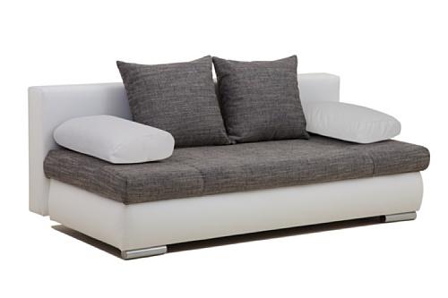 Schlafsofa Chicago-PUR Kunstleder, 200 x 95 cm weiß mit Strukturstoff dunkelgrau