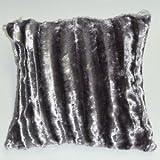 "Luxury Fur Faux Shiny Stripe Cushion Cover 18"" x 18"" / 45 x 45cm Silver"