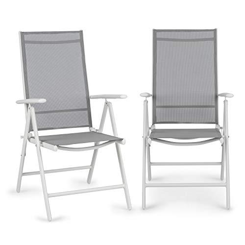 blumfeldt Almeria Garden Chair - Gartenstuhl, Klappstuhl, 2er-Set, 56,5 x 107 x 68cm, Rückenlehne mit 7 Positionen, luftdurchlässiges & wasserresistentes Textilgewebe, Aluminium, weiß/hellgrau
