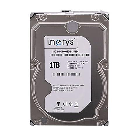 i.norys interne Festplatte 3,5 Zoll, 8,9cm, Desktop PC, HDD, NAS, 7200RPM, SATA3, Serial ATA, Kapazität:1.000GB (1TB), Cache :64MB Cache