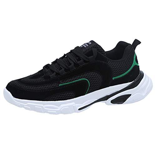 Sportschuhe Air Herren Atmungsaktiv Turnschuhe Schnürer Sneaker rutschfeste Mode Freizeitschuhe Trainers Running Sneakers (Schwarz,43 EU) Lenox Grand
