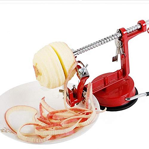 Apfelschäler, Apple Corer Slicer Peeler aus Edelstahl, Rotgussgehäuse mit Saugfuß, Rot -