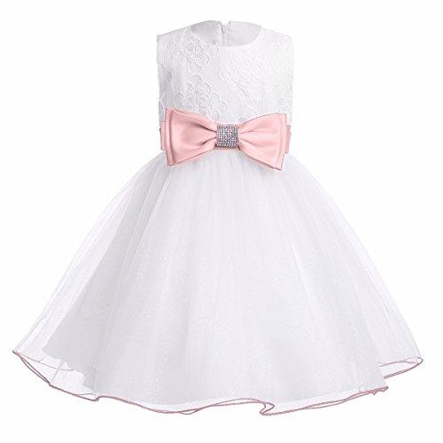 YiZYiF Baby Mädchen Kleid mit Schleife Taufkleid Blumenmädchen Prinzessin Hochzeit Festlich Kleid Weiß Tüll Festzug Kleidung Rosa 62-68