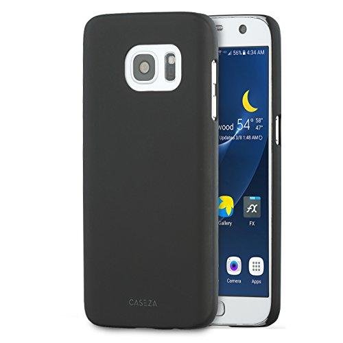 CASEZA Galaxy S7 Hülle Schwarz Rio Case Back Cover mit Mattem Finish - Premium Hardcase Bumper mit Gummierter Oberfläche für Angenehme Haptik - Hochwertige Schutzhülle Ultra Slim Schwarz Hard Case