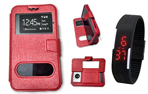 BKDT Marketing Leather finish Flip Cover Case Stand Diary Style for Samsung Galaxy S4 I9295 Active with Dislay Window and Stand- Red with Digital Watch  available at amazon for Rs.519