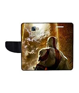 KolorEdge Printed Flip Cover For Huawei Honor 7 Multicolor - (1478-50KeMLogo11321Honor7)