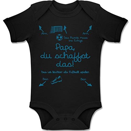 Shirtracer Strampler Motive - Papa du schaffst das Fußball Junge - 18-24 Monate - Schwarz - BZ10 - Baby Body Kurzarm Jungen Mädchen