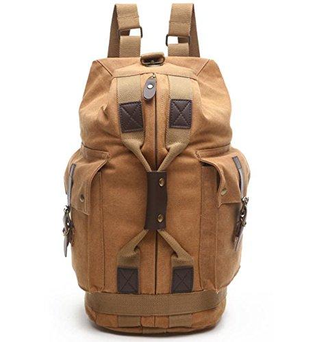 &ZHOU Borsa di tela, Più tasche tela borsa a tracolla uomo e donna alpinismo borsa zaino tempo libero viaggio borsa zainetto , army green Khaki