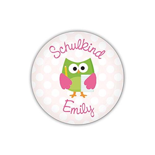 mm Ø SCHOOL OWLS rosa, Schulkind personalisiert (Art. PBU266) ()