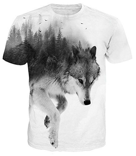 Idgreatim Maglietta Lupo Modello 3D Stampata a Maniche Corte T-Shirt a Grafica Casuale