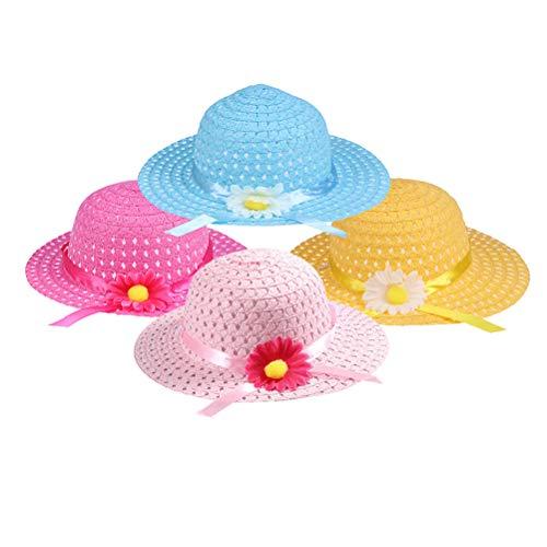 TOYANDONA Mädchen Sonnenblume Strohhut Sonnenhut Bonnet Tea Party Hut für kleine Kinder Kinder Kostüm Dress up und Geburtstag liefert Dekorationen-4 - Tea Party Mädchen Kostüm