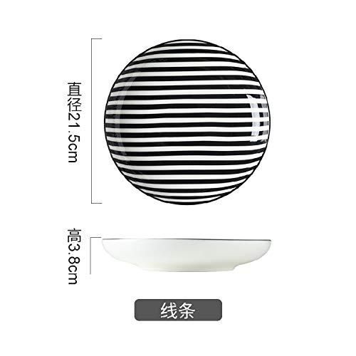 AAPP SHOP Japanische kreative Home Dish Platte gestreiften frühstück Platte Keramik runden Teller Reis Platte suppenteller Pasta Geschirr Tiefe Geschirr GeschirrLinie (Reis Gericht)