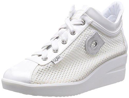 Agile by Rucoline Sneaker Wedge Moyen Élevé avec Zip Top chambres intérieures Art. 0226 82310 226 Souliers est blanc Femme Nouvelle Collection Printemps Eté 2016 Bianco
