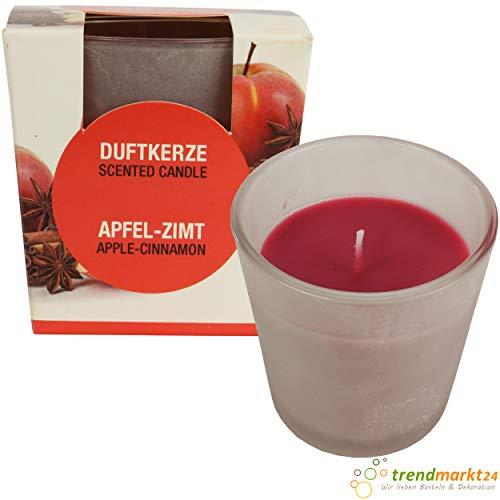 trendmarkt24 Edel-Duft-Kerze/Duftkerze Apfel Zimt im satiniertem Glas 22-25 h Brenndauer rot ca. 8 cm groß exklusiver Kerzen-Duft Raumdüft für Innen 100% Paraffin 391033-A
