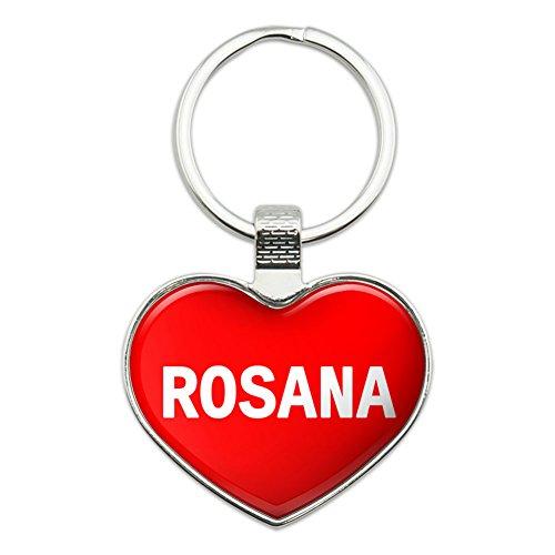 Preisvergleich Produktbild Metall Schlüsselanhänger Ring I Love Herz Namen weiblich R Risa Rosana