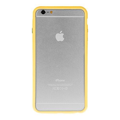 kwmobile TPU Silikon Bumper Hülle für Apple iPhone 6 Plus / 6S Plus - Protection Rahmen Schutzhülle mit Aluknöpfen in Schwarz .Gelb