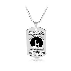 """Blerameng Kette mit Dog Tag mit englischer Aufschrift """"To MY Son…"""", Mutter-Sohn-Halskette"""
