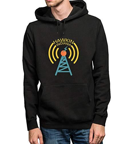 GlamourLab Hawkins Indiana Radio Club Antena_R2268 Hoodie Kapuzenpullover Jumper Sweater Pullover Sweatshirt Unisex Black Gift- M Black Hoodie Radio Antena M
