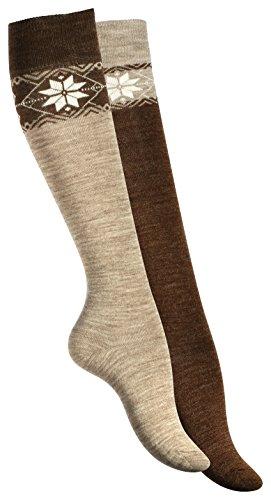 Lot de 2 paires de chaussettes montantes, chaud. Chaussettes de laine pour femme. Avec motif de flocon de neige. Origine de VCA 35-38 Marron